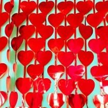 Red Heart  Foil Curtain