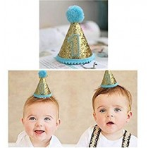 First Birthday Boy Mini Glitter Cap