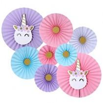 Unicorn paper Fan (Set of 8 )