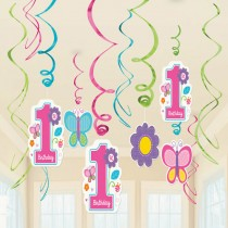 1st Bday Girl Swirl Decoration (set of 12)