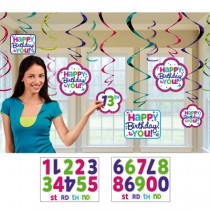 Happy Birthday Customized swirls (set of 12)