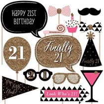 Photo Booth Sticks Set - 21st Birthday