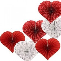 Paper Fan Set - Red Heart