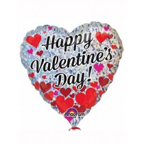 Happy Valentines day HolograpicHeart  18inch foil balloon