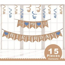 Bunting - Its My 1/2 Birthday Blue  ( Set of 16 flaps )