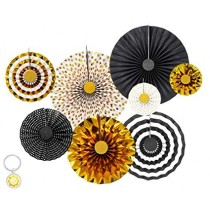 Paper Fan Set - Black & Gold ( Set of 8 )