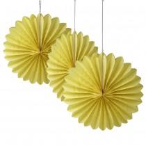 "Yellow Paper Fan Decoration -(Set of 3) 12"""