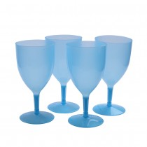 Blue Neon Plastic Glasses Set of 4