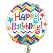 Chevron Happy Birthday Foil Balloon 18""