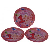 1st Birthday Princess Plates (Set of 8)