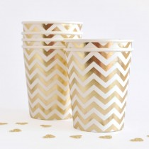 Gold Chevron Paper Cups (set of 10pc)