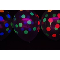 Transparent Neon Polka Balloons (Set of 10)