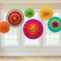 Paper Fan Set Colourful(set of 6)