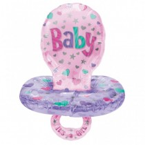 Pink Baby Rattle Shape Foil Balloon 30''