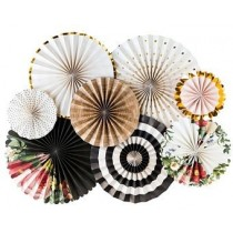 Paper Fan Set - Gold Black White  with Floral Print ( Set of 8 )