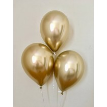 "Chrome Gold Qualtex 12"" Latex Balloons (Set of 3)"