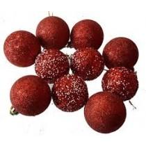 Christmas Red Balls ( set of 9 )
