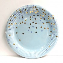 Blue Foil Sprinkle Paper Plates (Set of 10) 9''