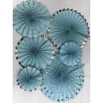 Paper Fan Set - Blue Glitter