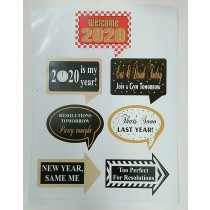 Happy New year Set of 7 Photo Booth Props
