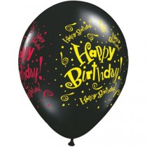 Happy Birthday Black Color  Latex Balloons ( Set Of 10 )