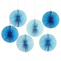 Blue Paper Fan set- ( set of 6pcs )