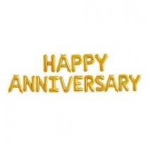 Happy Anniversary Letter Foil Balloon ( Gold )