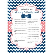 Who Knows Mommy & Daddy Best Game Cards ( set of 6 )